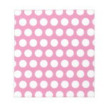 Pink and White Polka Dots Pattern Scratch Pad