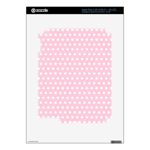 Pink and White Polka Dots Pattern. Skins For iPad 3
