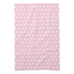 Pink and White Polka Dots Pattern. Towels