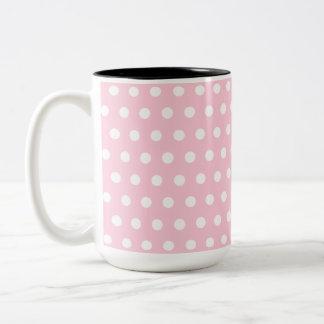 Pink and White Polka Dots Pattern. Two-Tone Coffee Mug