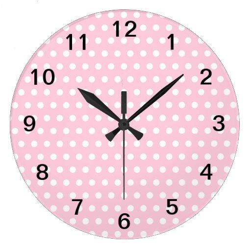 Pink and white polka dots pattern wallclocks zazzle for Red and white polka dot pattern