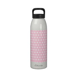 Pink and White Polka Dots Pattern. Drinking Bottles