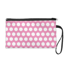 Pink and White Polka Dots Pattern Wristlet