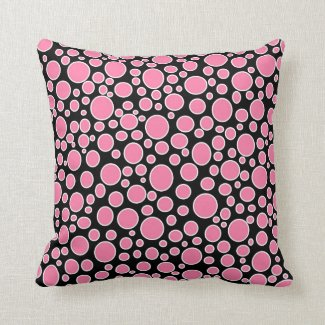 Pink and White Polka Dots Pillow