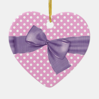 Pink and White Polka Dots Purple Bow Gift Item Ceramic Ornament