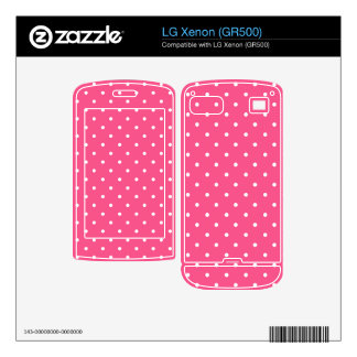Pink and white polka dots decals for the LG xenon