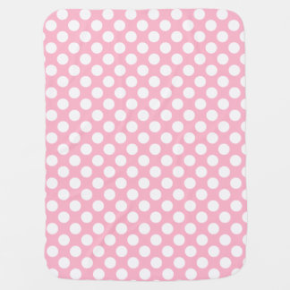 Pink and White Polka Dots Swaddle Blanket