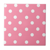 Pink And White Polka Dots Tile