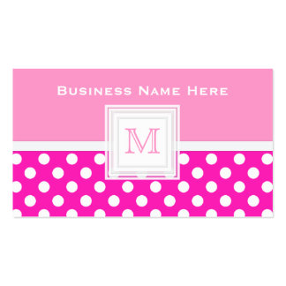 Pink And White Polkadot: Monogram Business Card