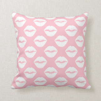 Pink and White Puckered Lips Throw Pillow