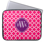 Pink and White Quatrefoil Pattern Monogram Laptop Sleeves