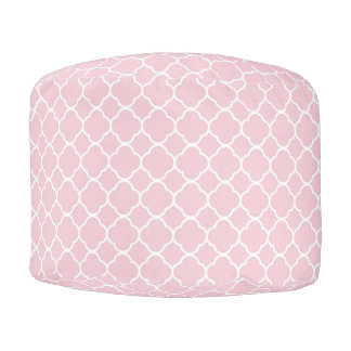 Pink and White Quatrefoil Round Pouf