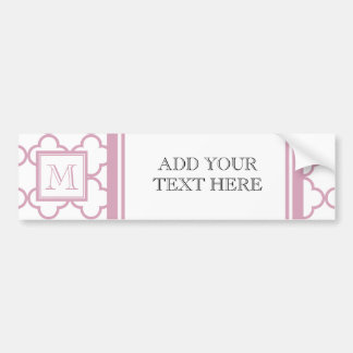Pink and White Quatrefoil | Your Monogram Bumper Sticker