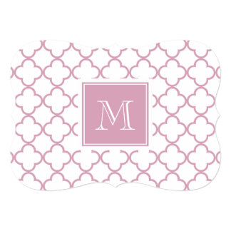Pink and White Quatrefoil | Your Monogram Card