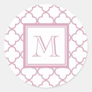 Pink and White Quatrefoil | Your Monogram Classic Round Sticker