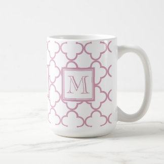 Pink and White Quatrefoil | Your Monogram Coffee Mug