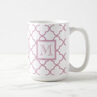 Pink and White Quatrefoil | Your Monogram Coffee Mug