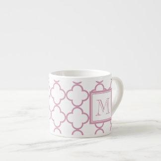 Pink and White Quatrefoil   Your Monogram Espresso Cup