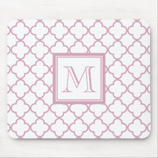 Pink and White Quatrefoil | Your Monogram Mouse Pad