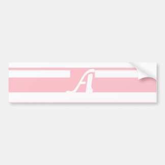 Pink and White Random Stripes Monogram Bumper Sticker