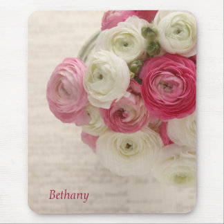 pink and white ranunculus on script mousepad