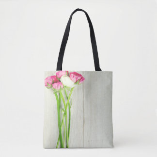 Pink and White Ranunculus Tote Bag