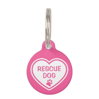 Pink And White Rescue Dog Heart With Custom Info Pet Tag