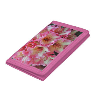 Pink and white rhododendron flowers trifold wallet