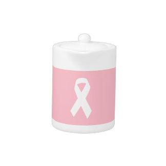 Pink and White Ribbon Shape Teapot