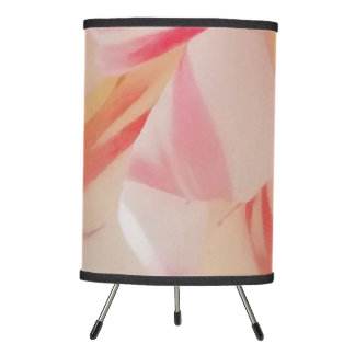 Pink and white romantic flower blossom tripod lamp