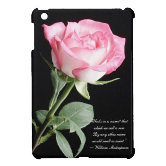 Pink and white rose and Shakespeare quote iPad Mini Case