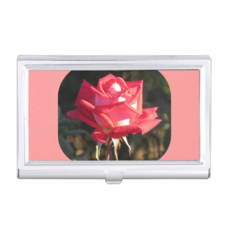 Pink and White Rose Business Card Case