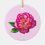 Pink and White Rose Christmas Ornament