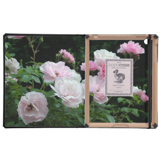 pink and white rose flowers iPad folio case