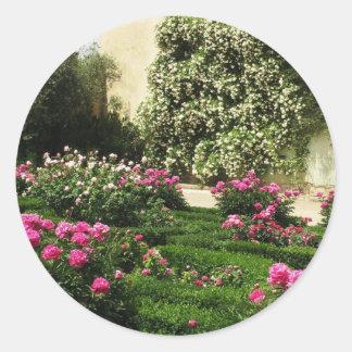 Pink and White Rose Garden Classic Round Sticker