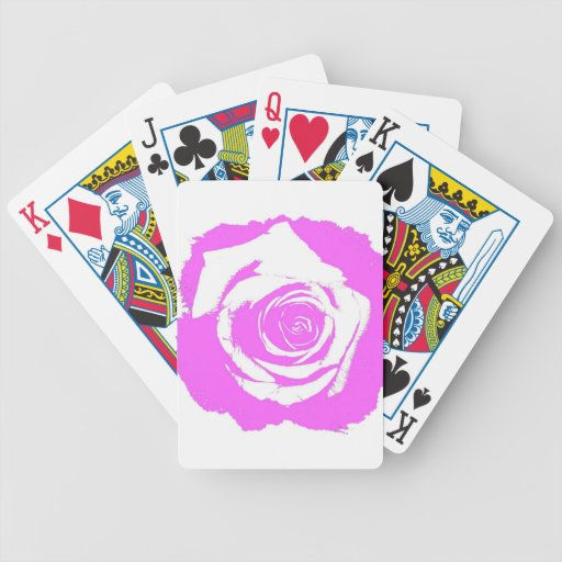 Pink and white rose graphic card deck
