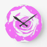 Pink and white rose graphic clock