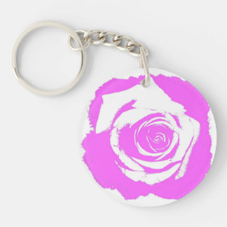 Pink and white rose graphic round acrylic keychains