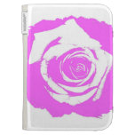 Pink and white rose graphic kindle case