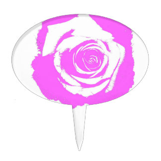 Pink and white rose graphic oval cake topper