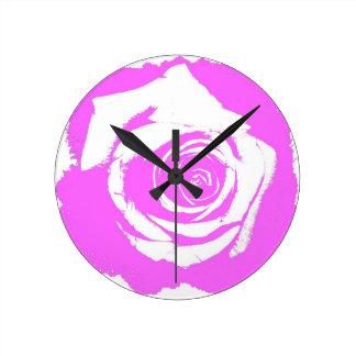Pink and white rose graphic round wallclocks
