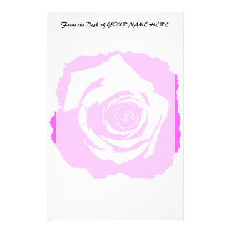 Pink and white rose graphic stationery