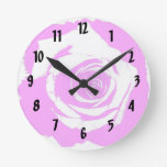 Pink and white rose graphic wall clocks