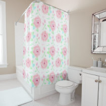 Pink and White Rose Pattern Floral Shower Curtain