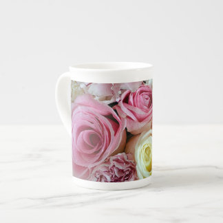 Pink and white rose petals print tea cup