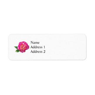 Pink and White Rose Return Address Label
