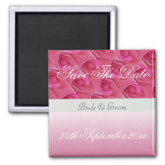 Pink And White Rose Save The Date Magnet