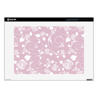 "Pink and White Rose Scroll 15"" Laptop Decal"