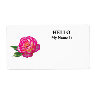 Pink and White Rose Shipping Label