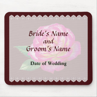Pink and White Rose Wedding Favors Mouse Pad